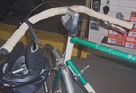 Wald handlebars on bike, back view