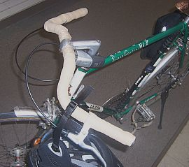 Wald handlebars on bike, front view